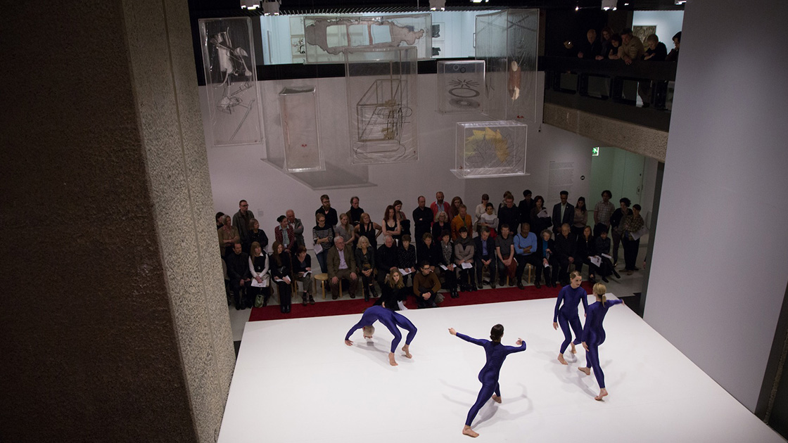 Merce Cunningham choreography performed by Andy Richard Alston Dance Company as part of the Barbican exhibition: Dancing Around Duchamp: The Bride and the Bachelors 2013. Image by Sidd Khajuria. Courtesy of Barbican Art Gallery