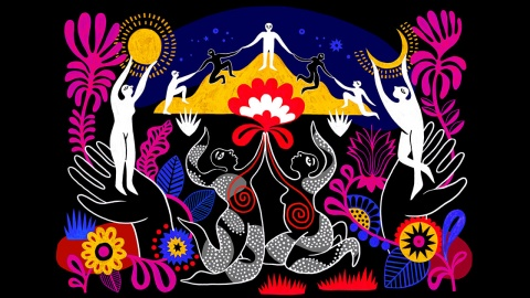 Illustration featuring black background, abstract figures and flowers