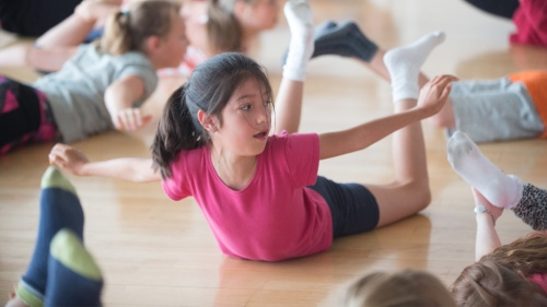 Summer Dance Courses 2017 at The Place - girl balancing on the floor in the studio