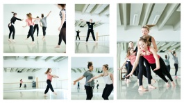 Colour photo montage of GCSE dance students practising in the studio at The Place
